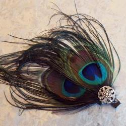 Double Peacock Fascinator